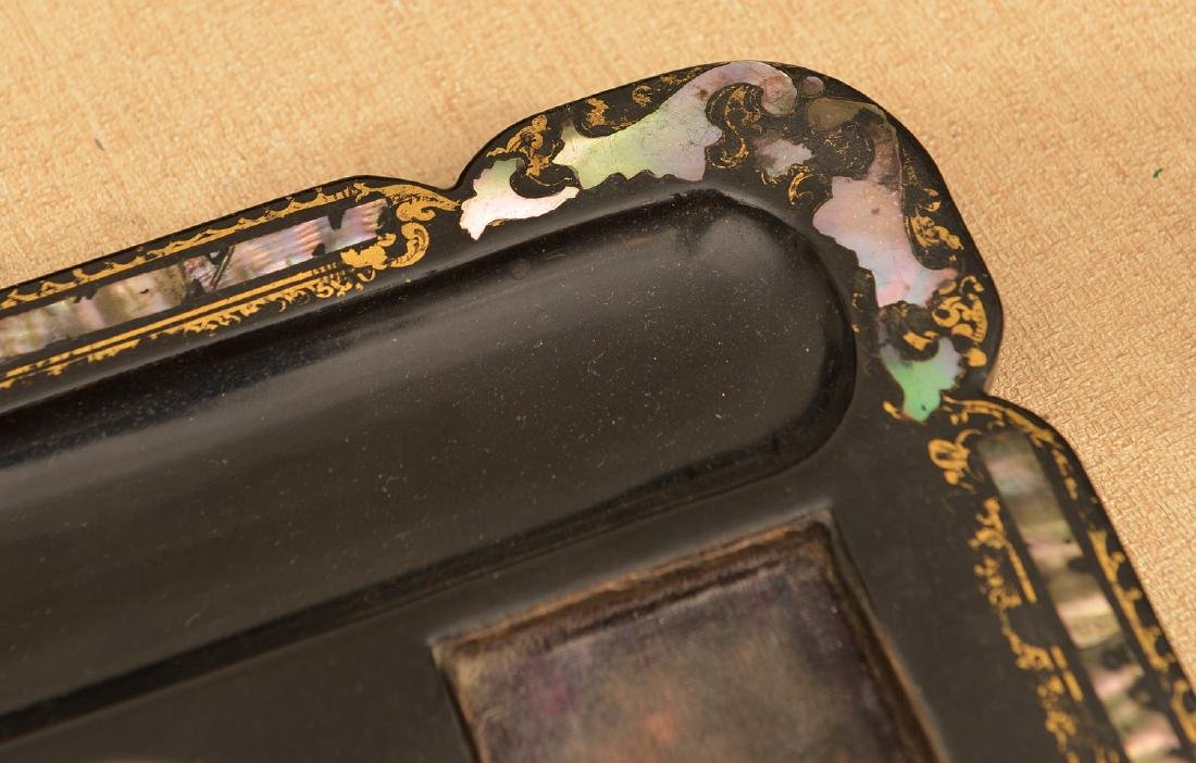Victorian papier mache, mother-of-pearl inkwell - 4