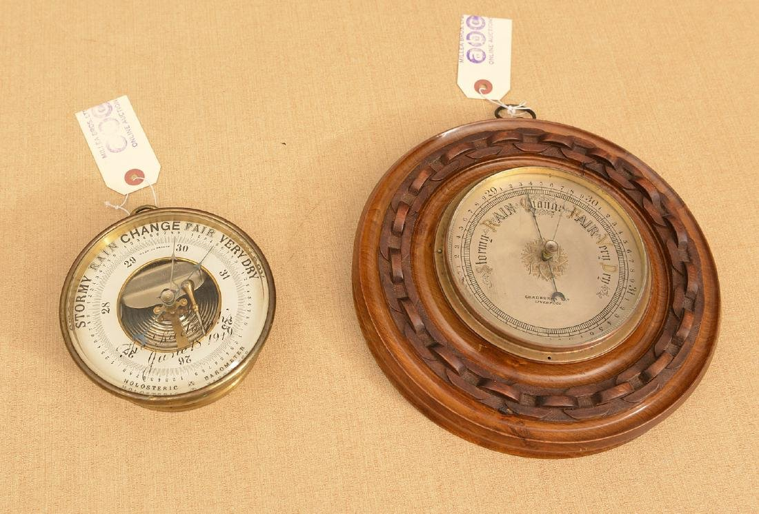 (2) antique French and English barometers