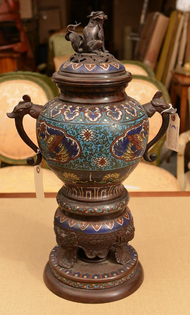 Chinese cloisonne footed bronze censer