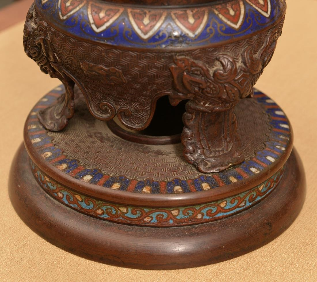 Chinese cloisonne footed bronze censer - 3