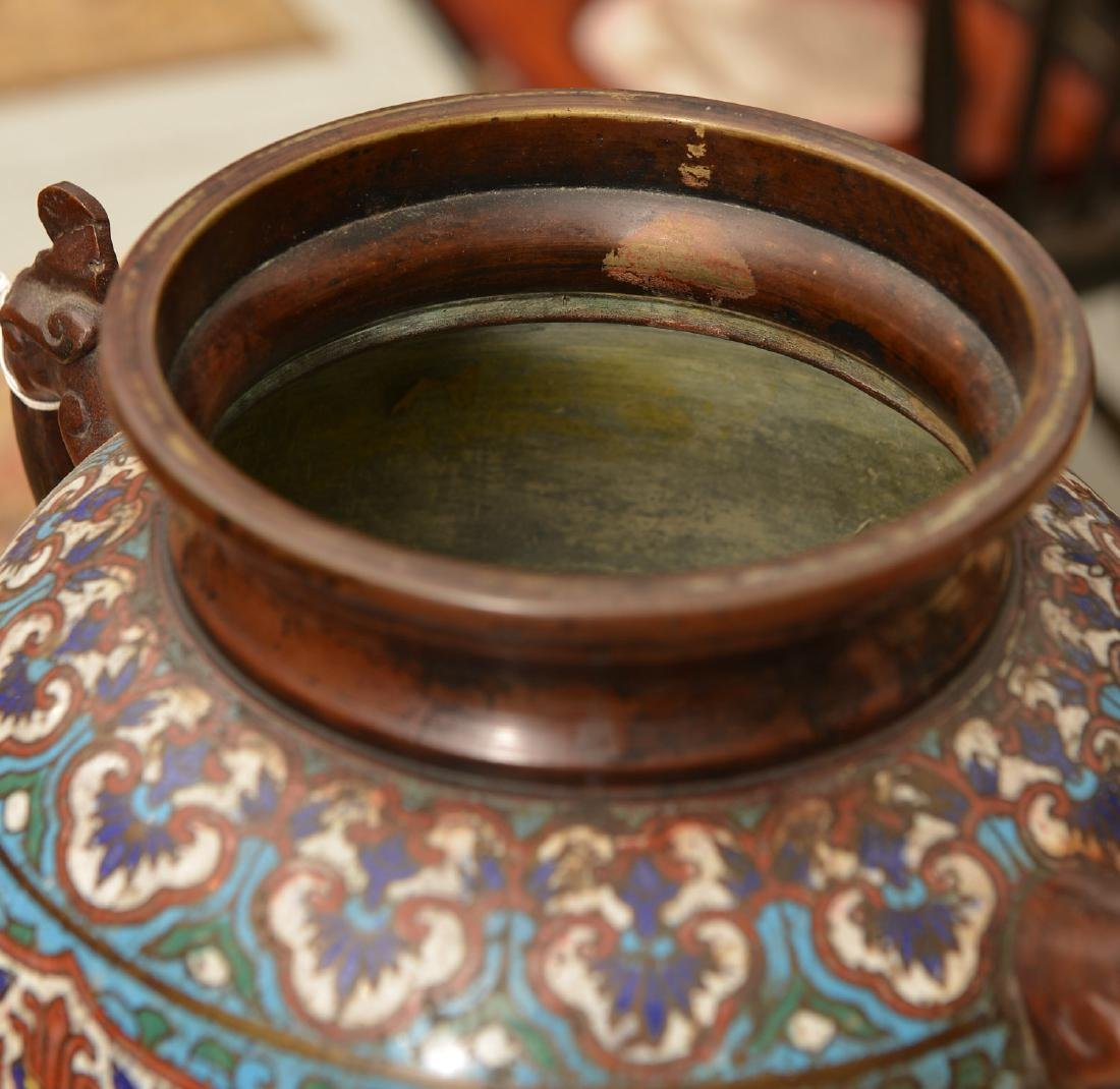 Chinese cloisonne footed bronze censer - 5