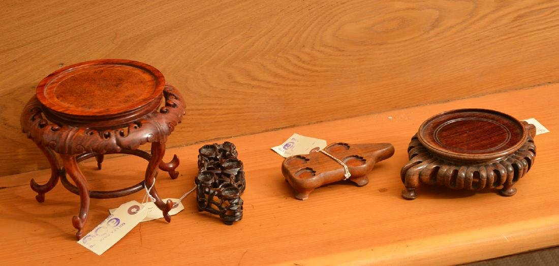 (4) Nice Chinese carved hardwood stands