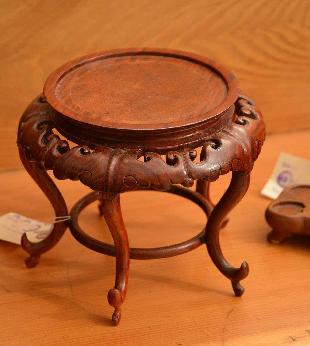 (4) Nice Chinese carved hardwood stands - 2