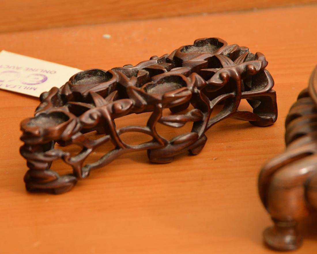 (4) Nice Chinese carved hardwood stands - 3