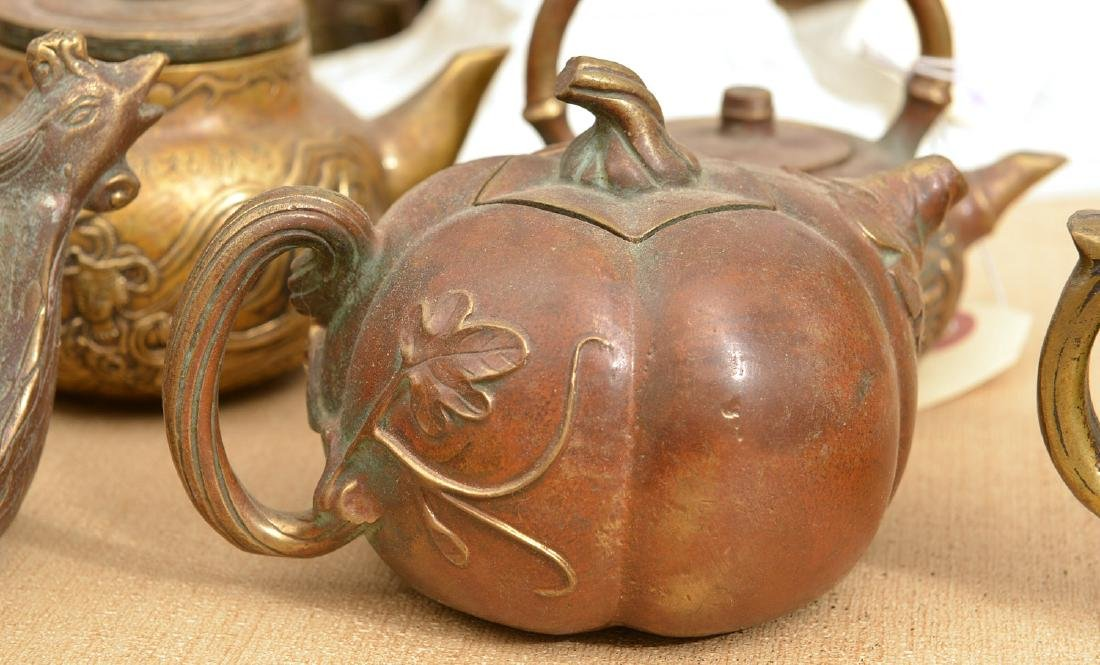 Collection (9) Chinese bronze teapots - 3