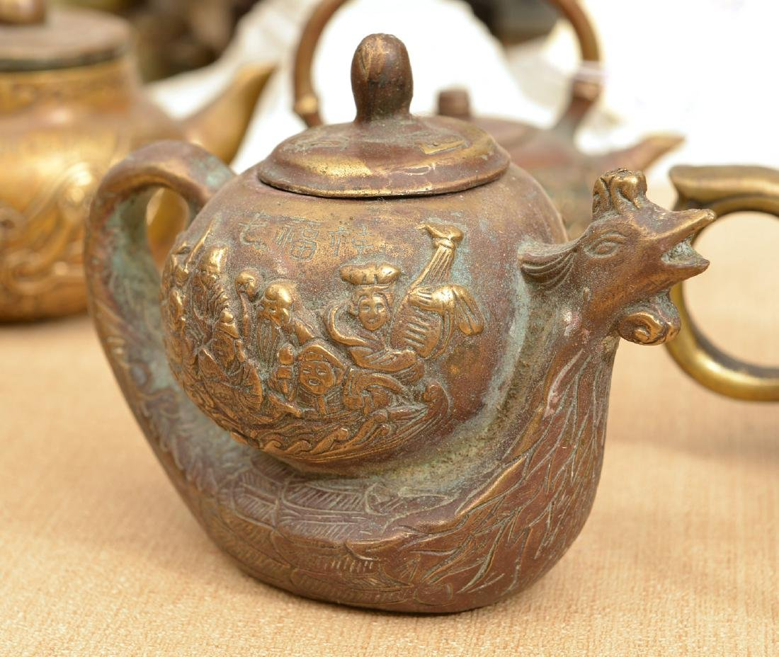 Collection (9) Chinese bronze teapots - 4