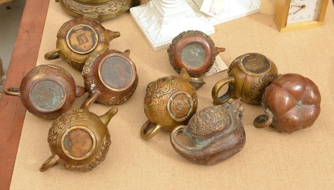 Collection (9) Chinese bronze teapots - 7