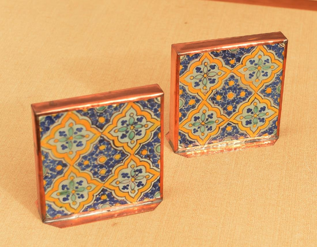 Pair copper-framed Spanish tile bookends