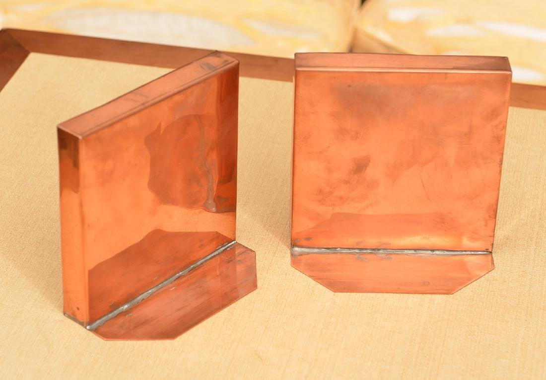 Pair copper-framed Spanish tile bookends - 2