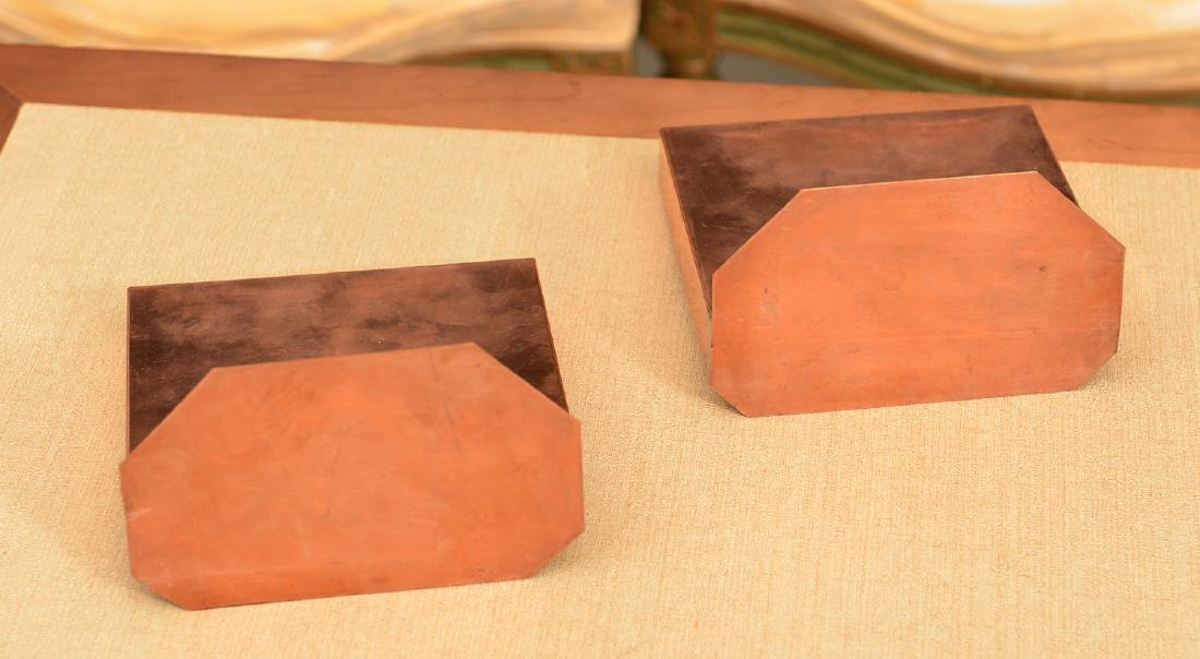 Pair copper-framed Spanish tile bookends - 3