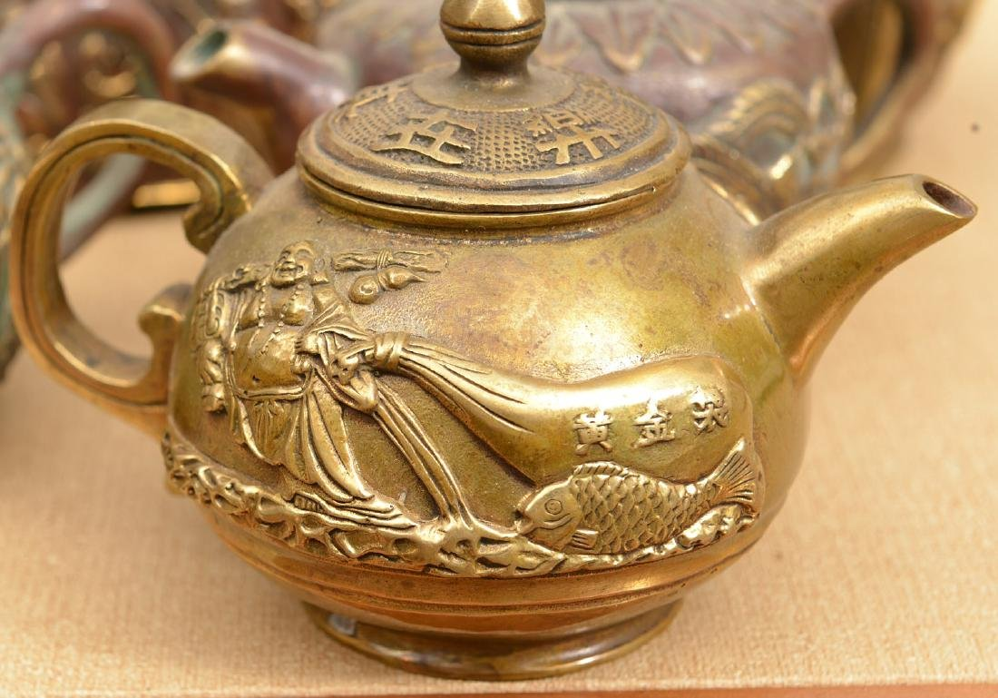 Collection (8) Chinese bronze teapots - 2