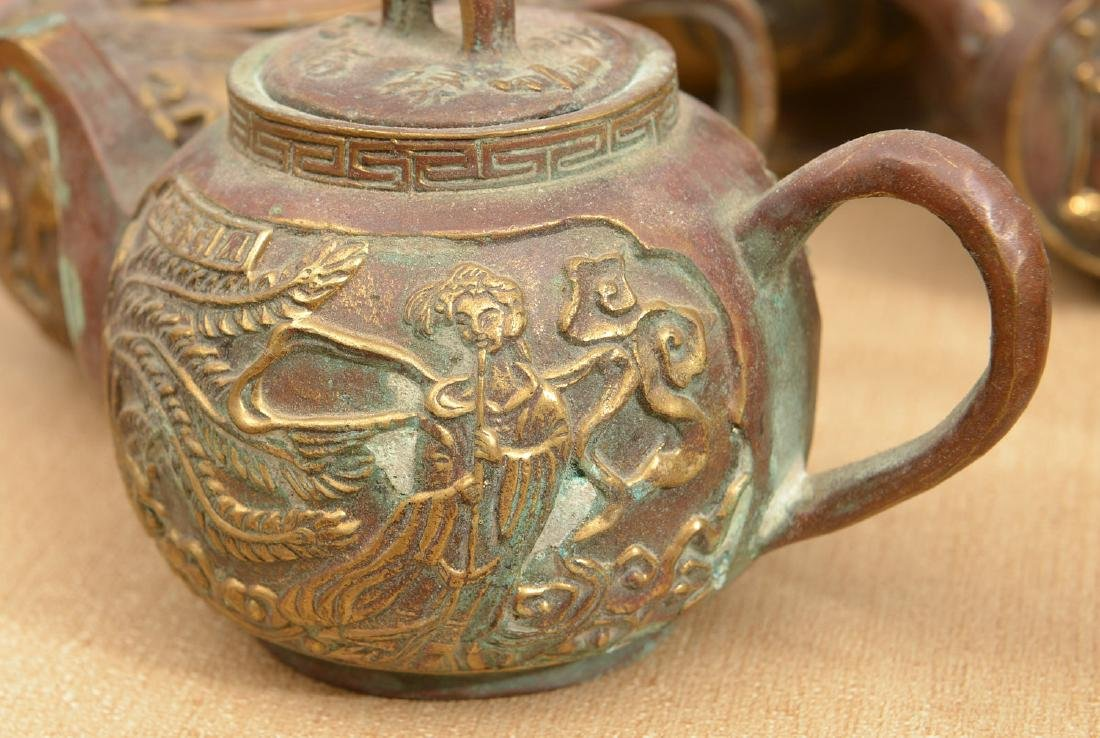 Collection (8) Chinese bronze teapots - 3