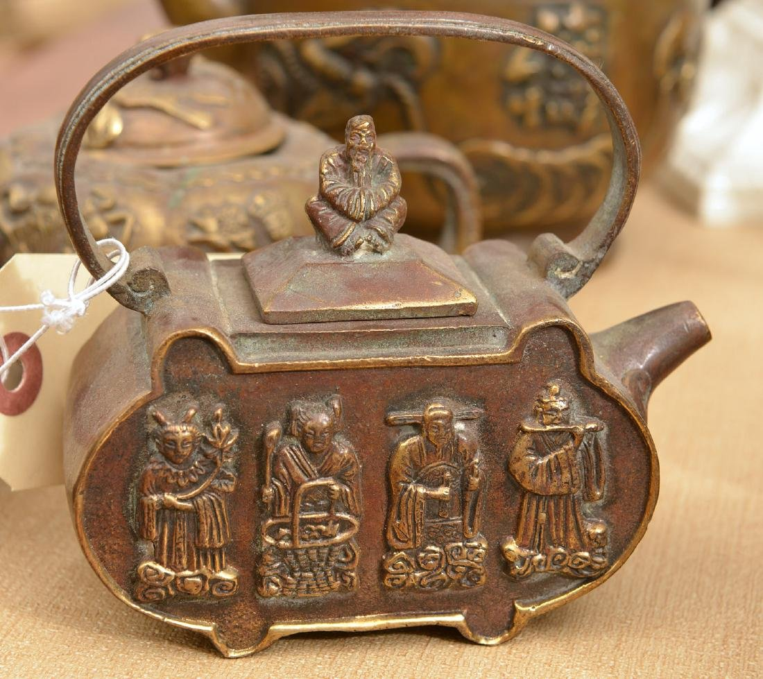 Collection (8) Chinese bronze teapots - 4