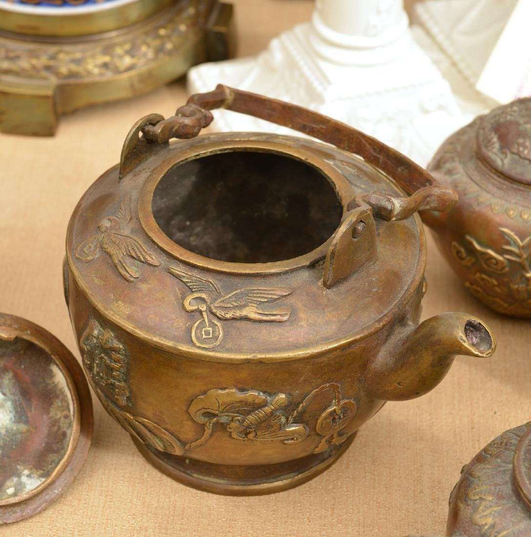 Collection (8) Chinese bronze teapots - 5