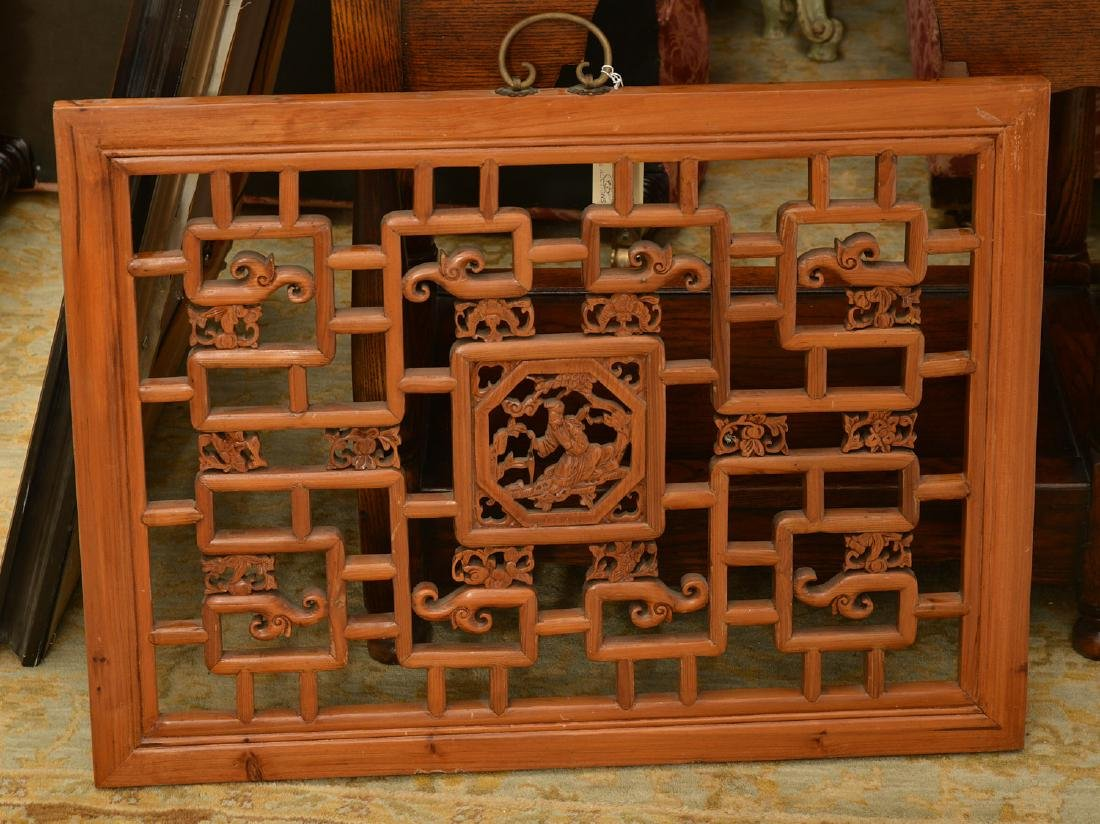 Chinese pierced carved hardwood wall panel