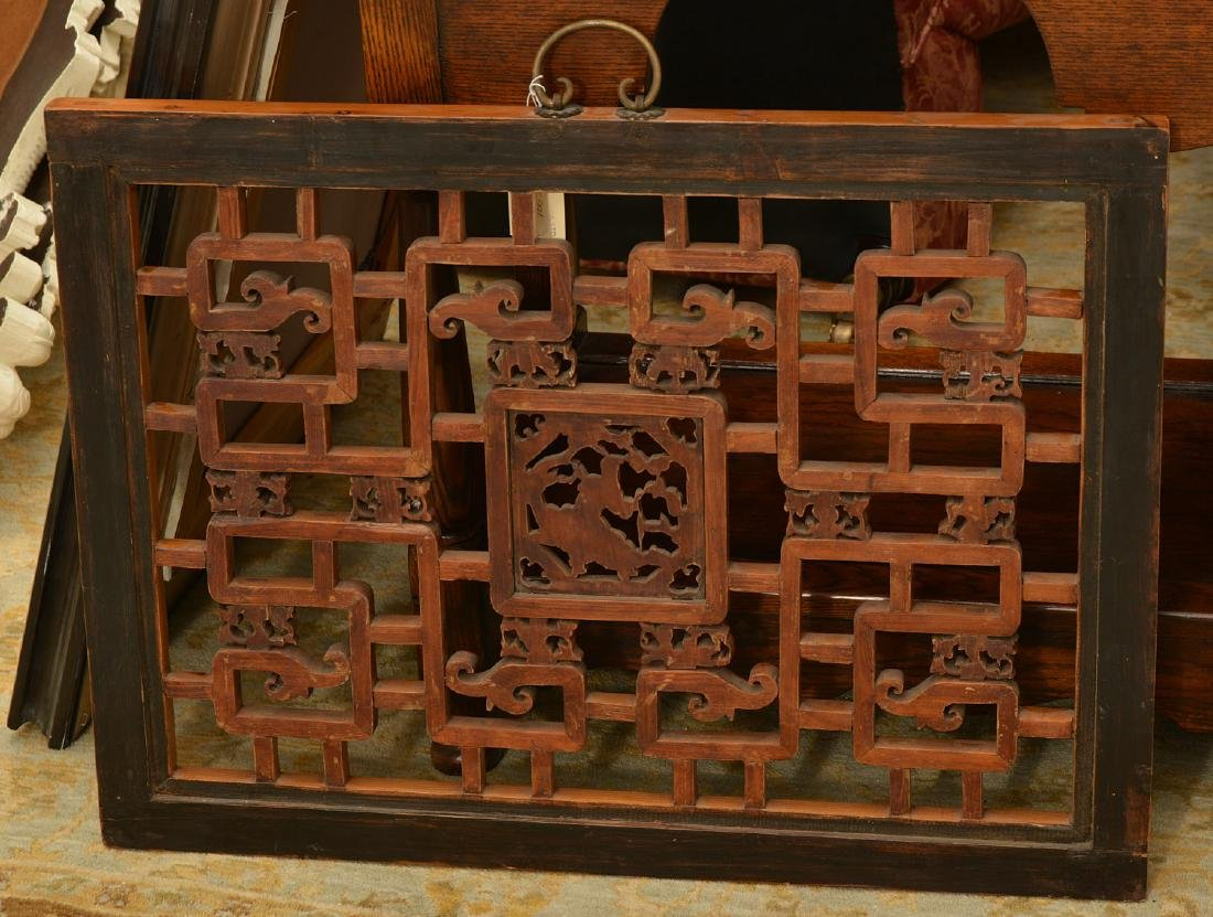 Chinese pierced carved hardwood wall panel - 5