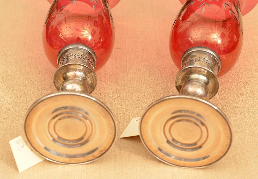Gorham silver candleholders with cranberry shades - 4