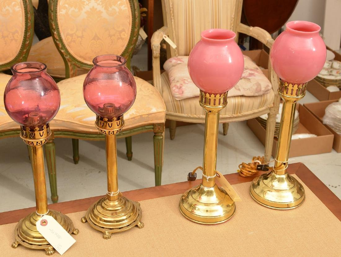 (2) pairs electrified brass candlestick lamps