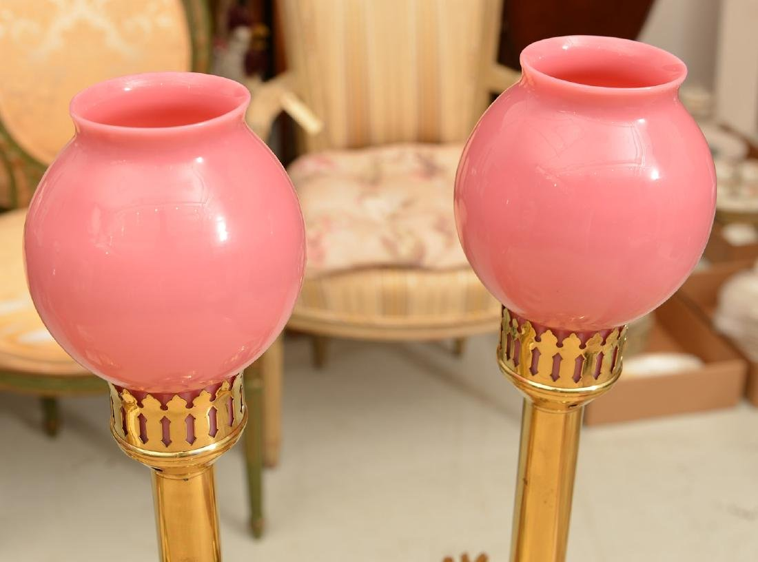 (2) pairs electrified brass candlestick lamps - 3
