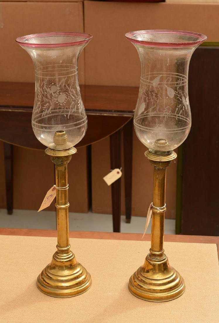 Pair antique Russian hurricane lamps