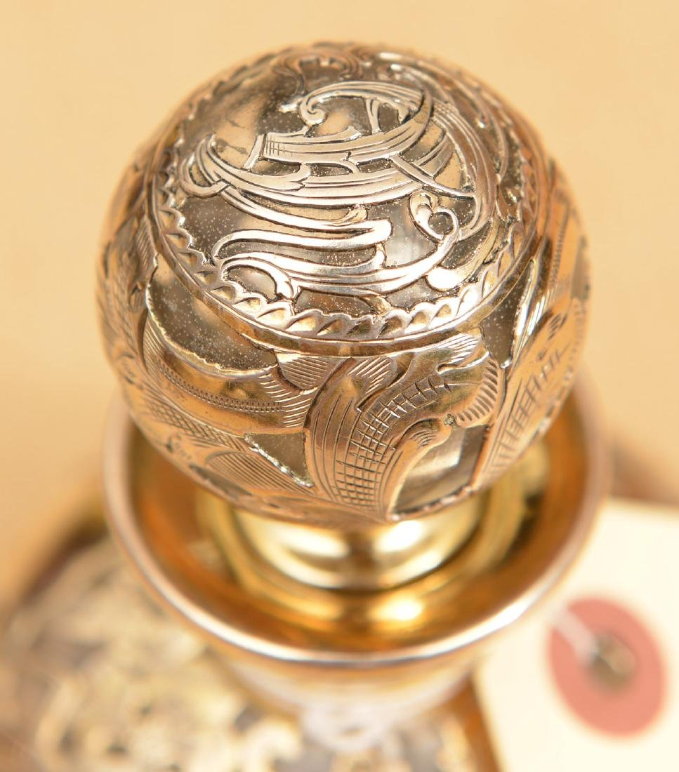Silver overlay glass scent bottle - 2