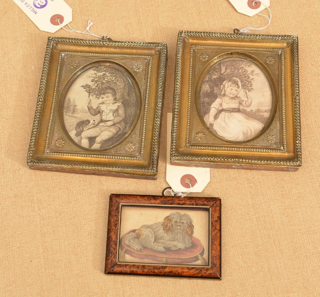 (3) antique framed miniature artworks