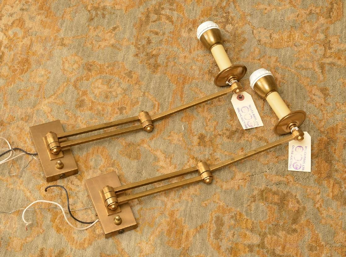 Pair Hansen style swing arm reading lamps