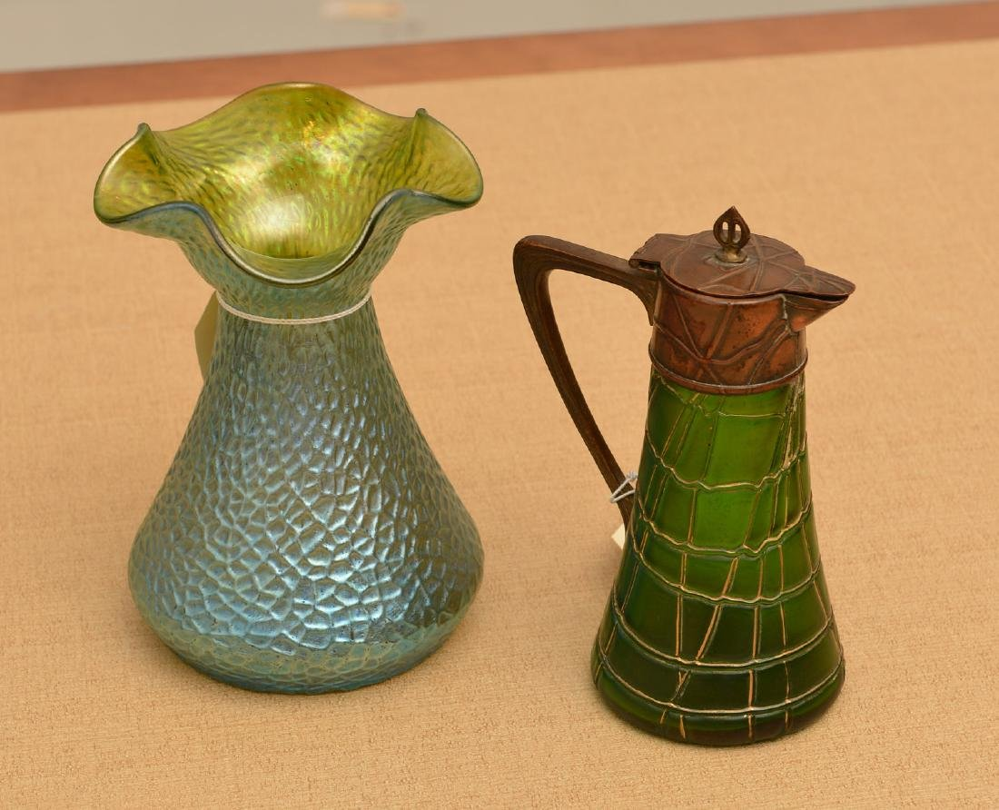 (2) Loetz type art glass vessels