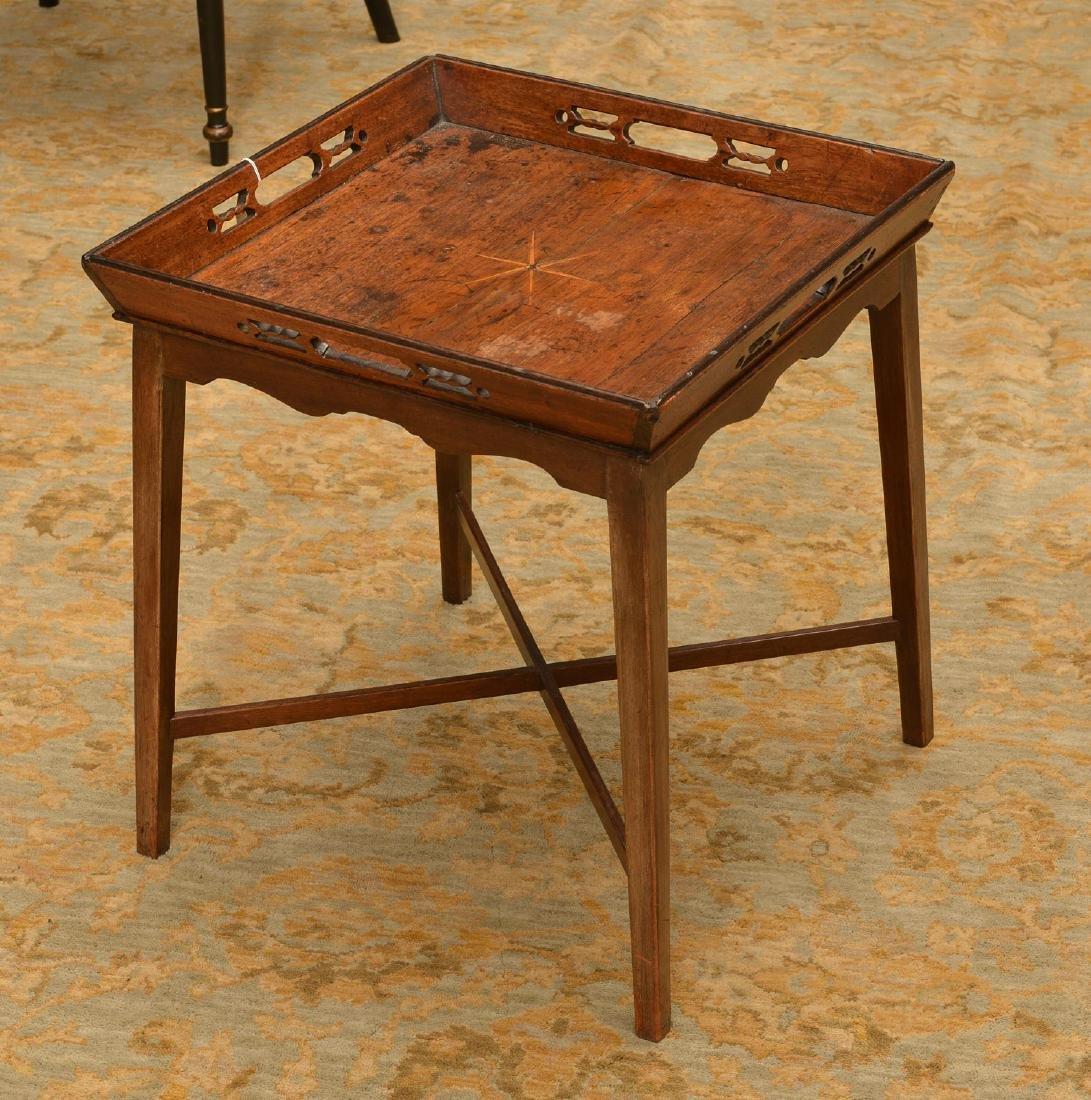 George III inlaid mahogany tray table
