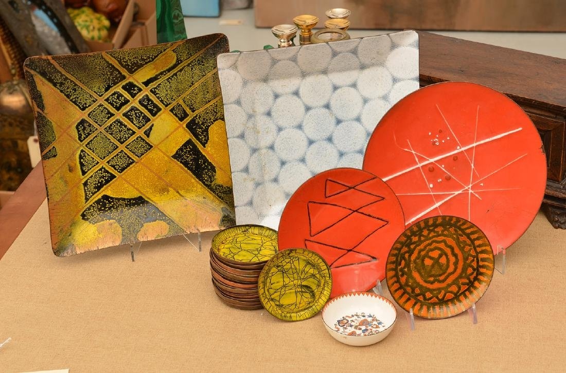 Collection signed Modernist enamelware