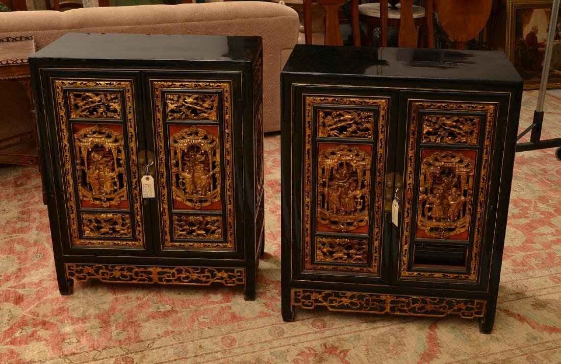 Pair Chinese carved and gilt lacquer cabinets