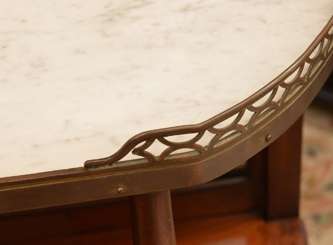 Louis XVI marble top mahogany demilune etagere - 4