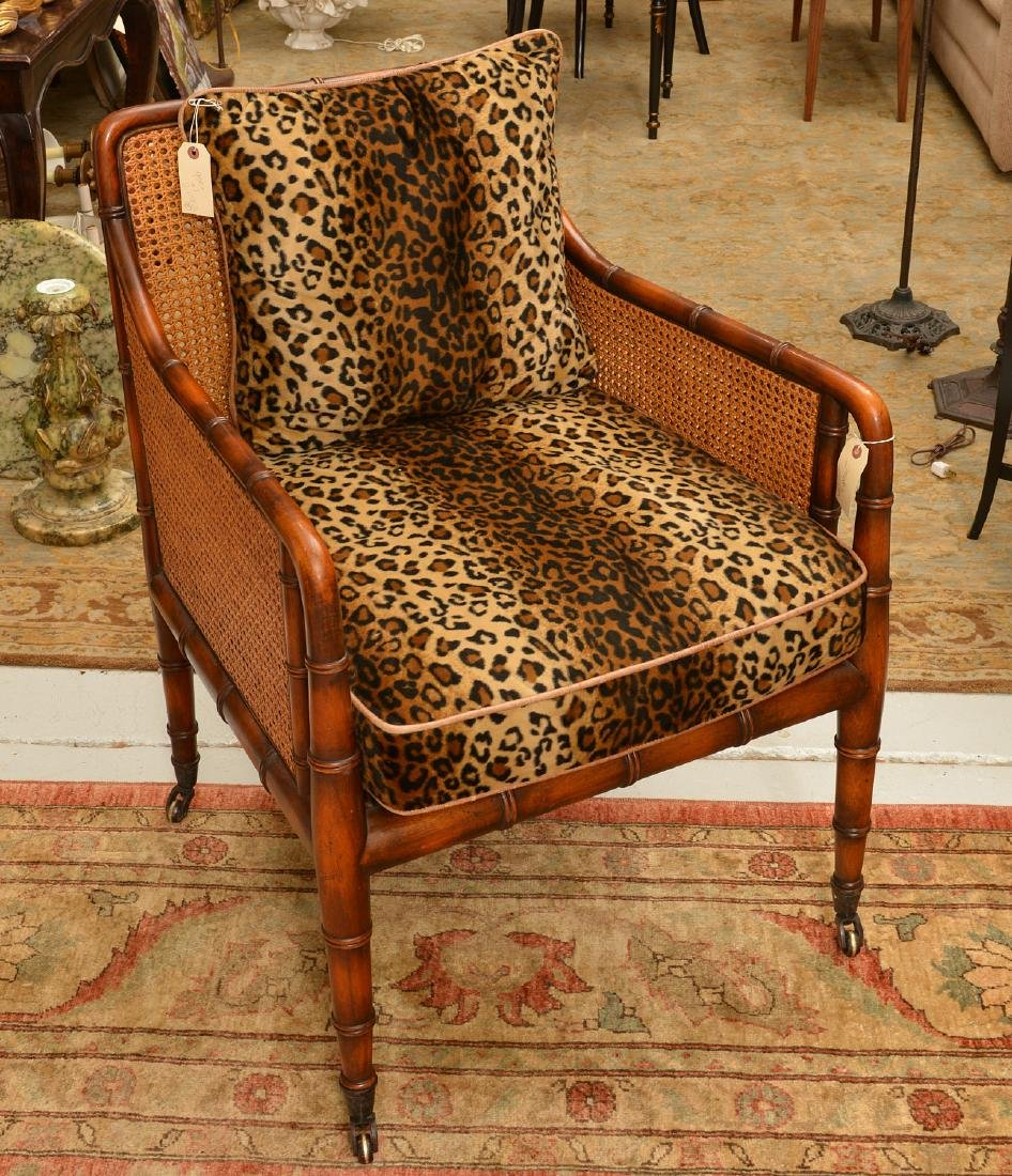 Regency style bamboo carved bergere