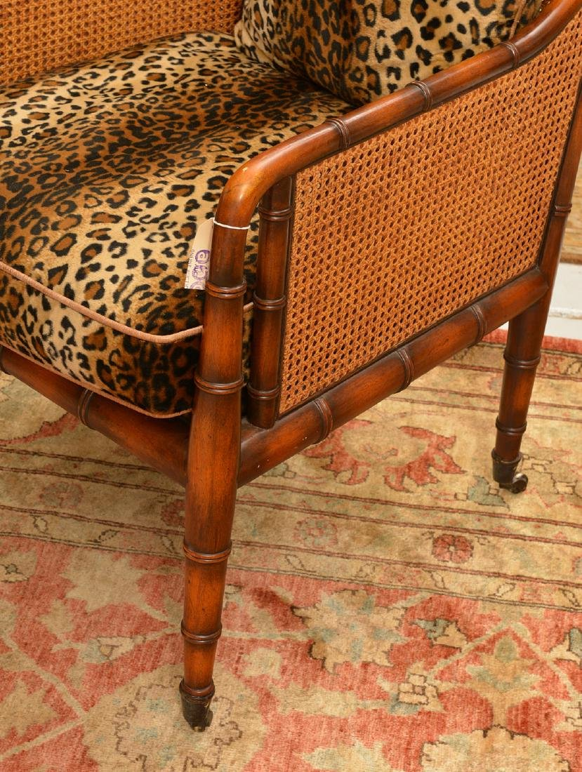 Regency style bamboo carved bergere - 2
