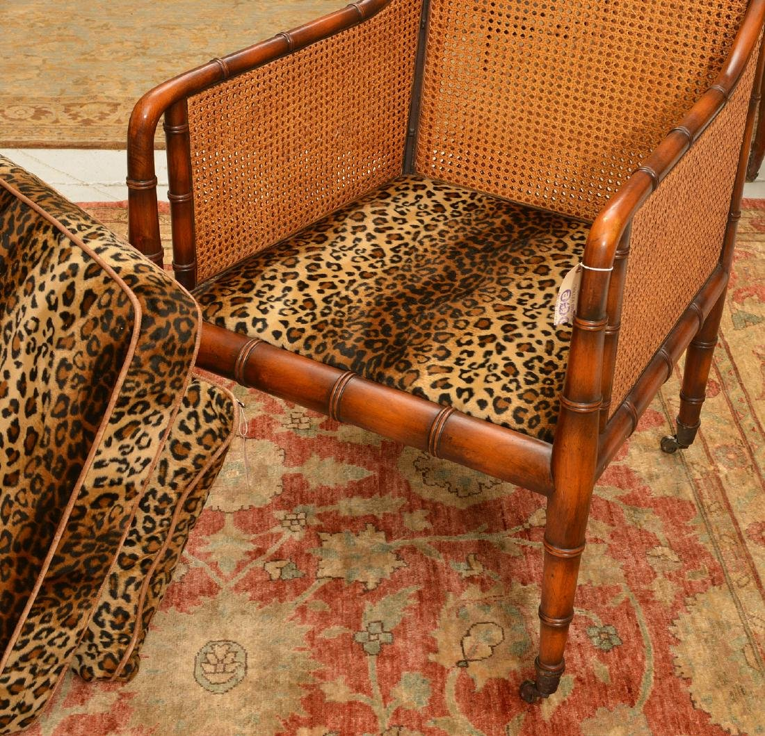 Regency style bamboo carved bergere - 4
