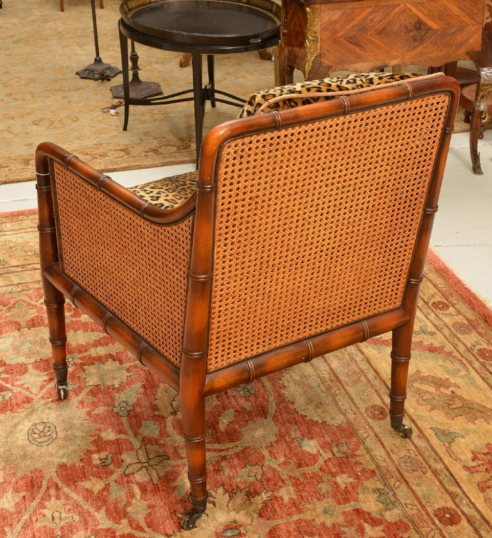 Regency style bamboo carved bergere - 5
