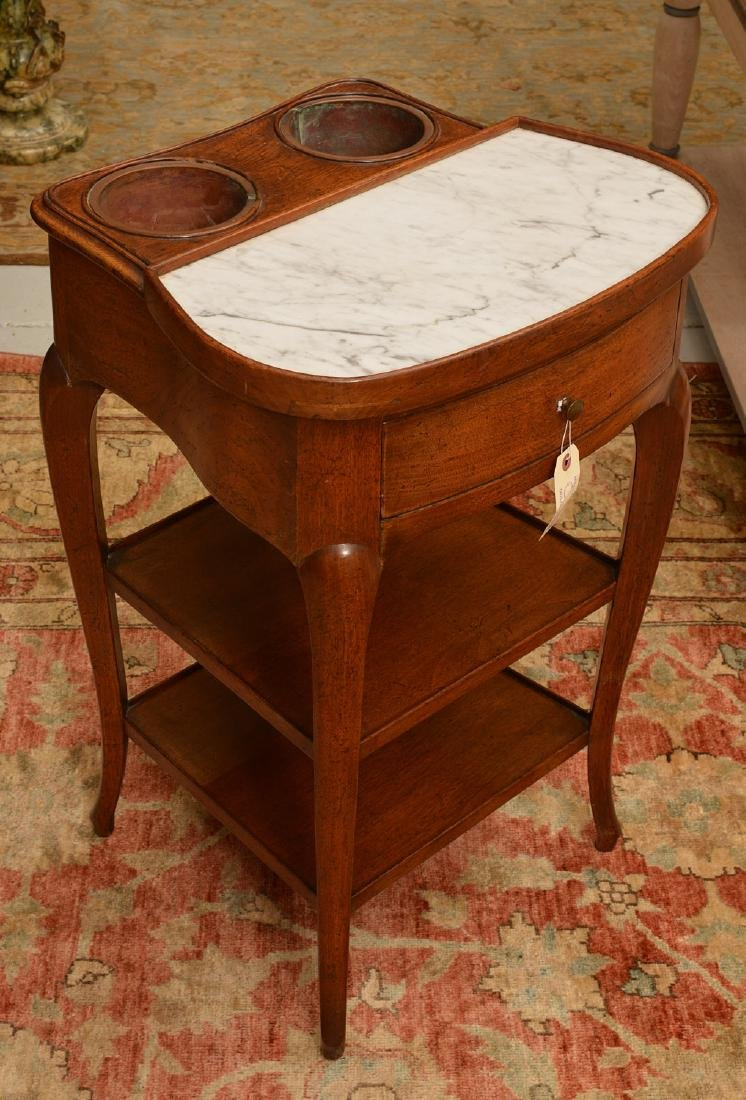 French Provinicial marble top walnut wine table