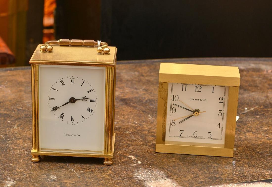 (2) Tiffany & Co. brass table clocks
