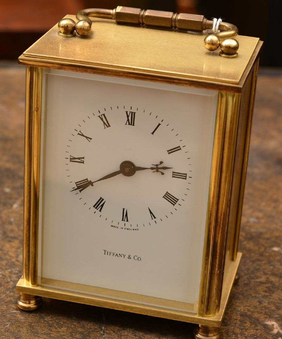 (2) Tiffany & Co. brass table clocks - 2