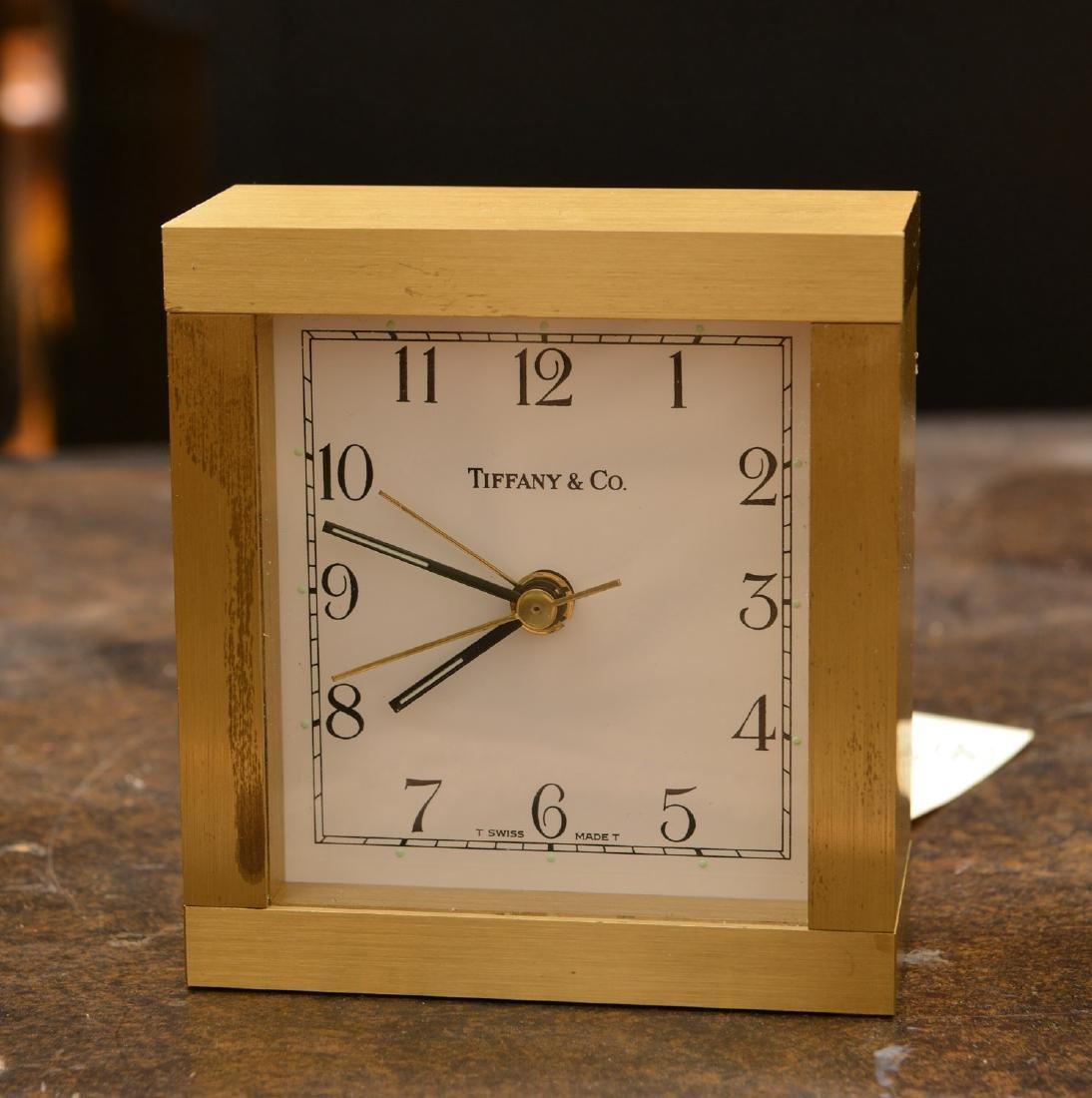 (2) Tiffany & Co. brass table clocks - 3