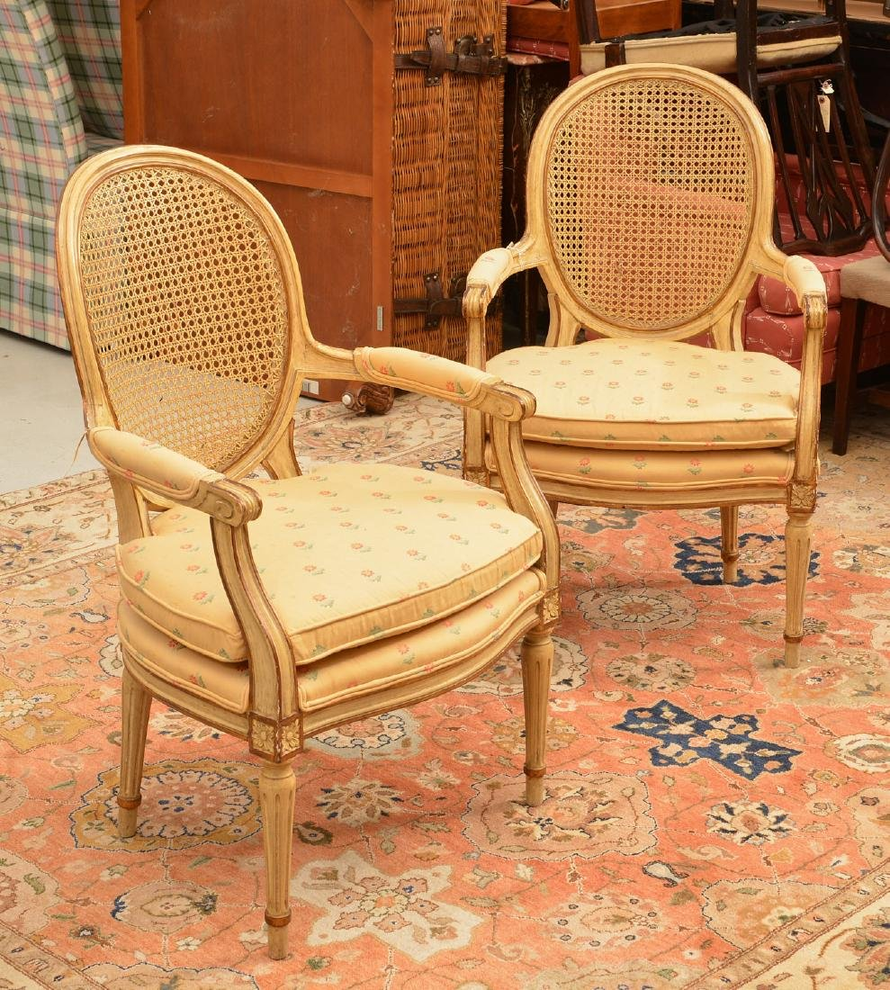 Pair Louis XVI style cream painted armchairs