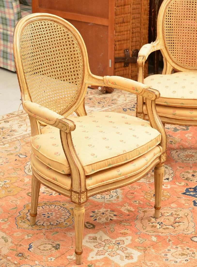 Pair Louis XVI style cream painted armchairs - 2