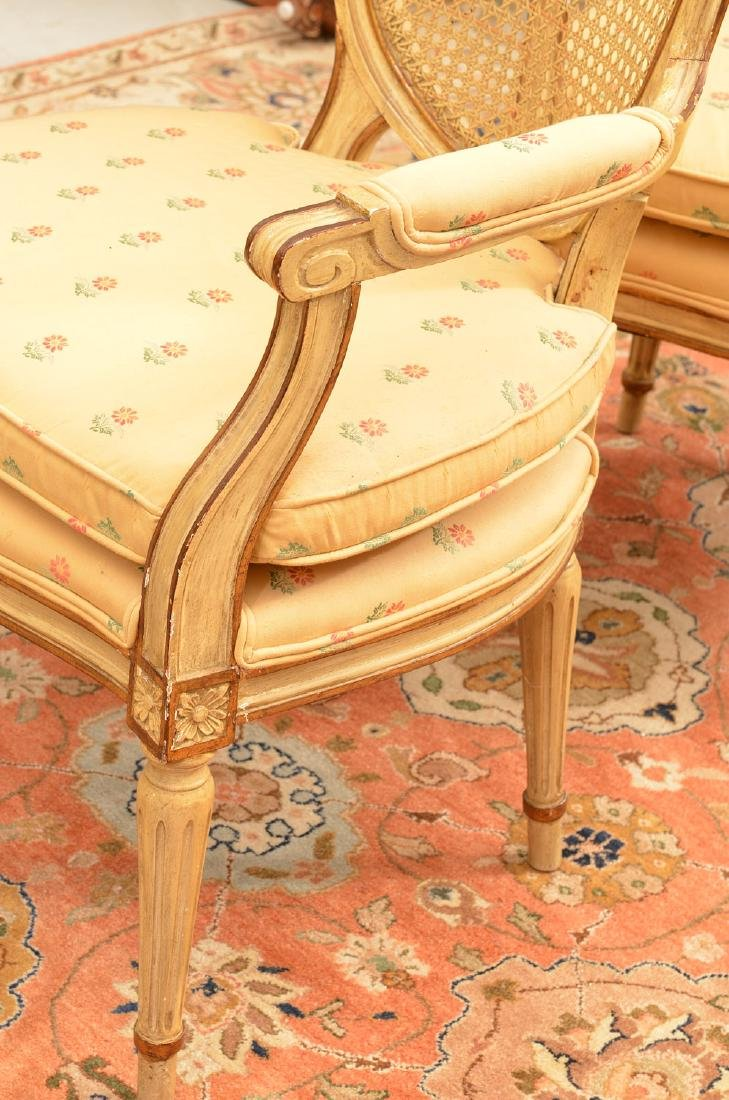 Pair Louis XVI style cream painted armchairs - 3