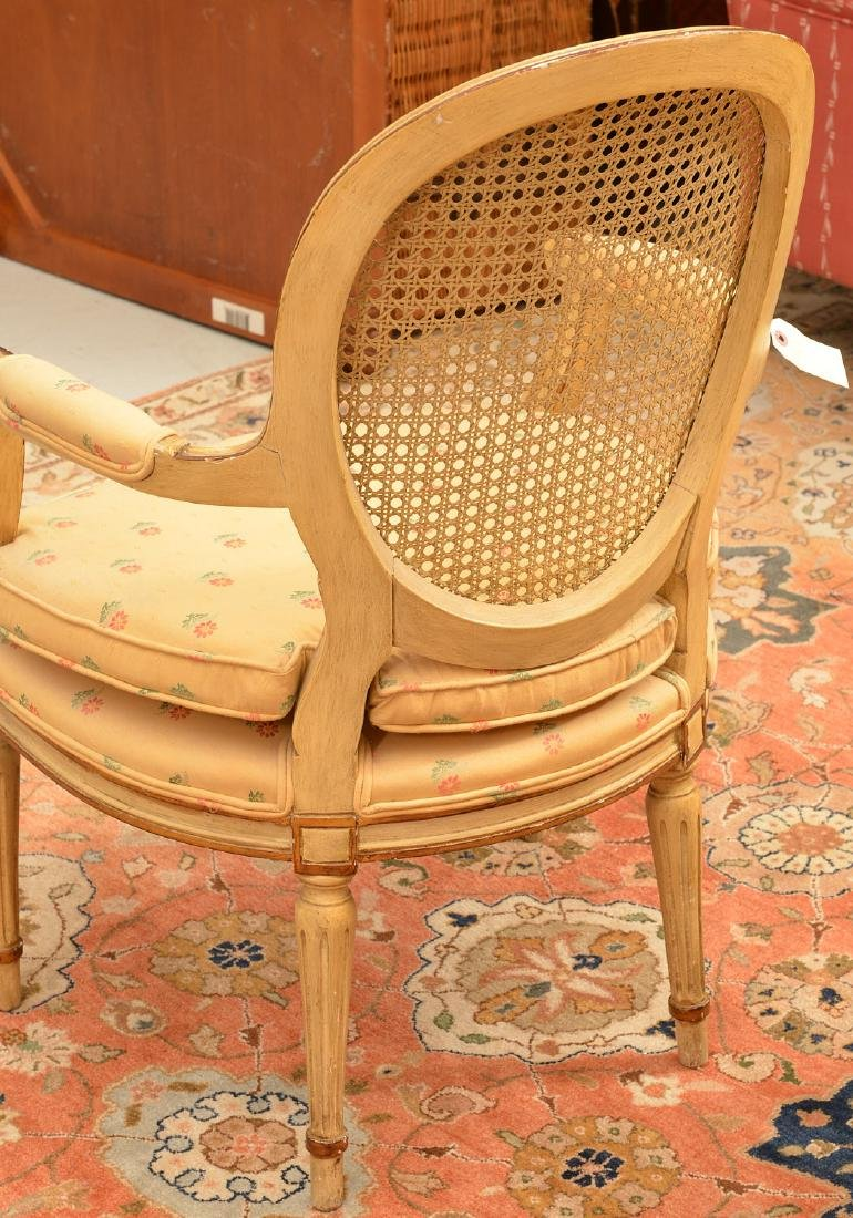 Pair Louis XVI style cream painted armchairs - 4