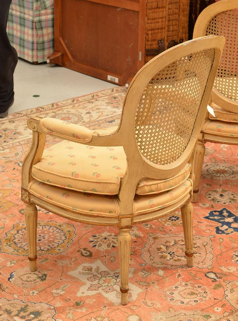 Pair Louis XVI style cream painted armchairs - 5