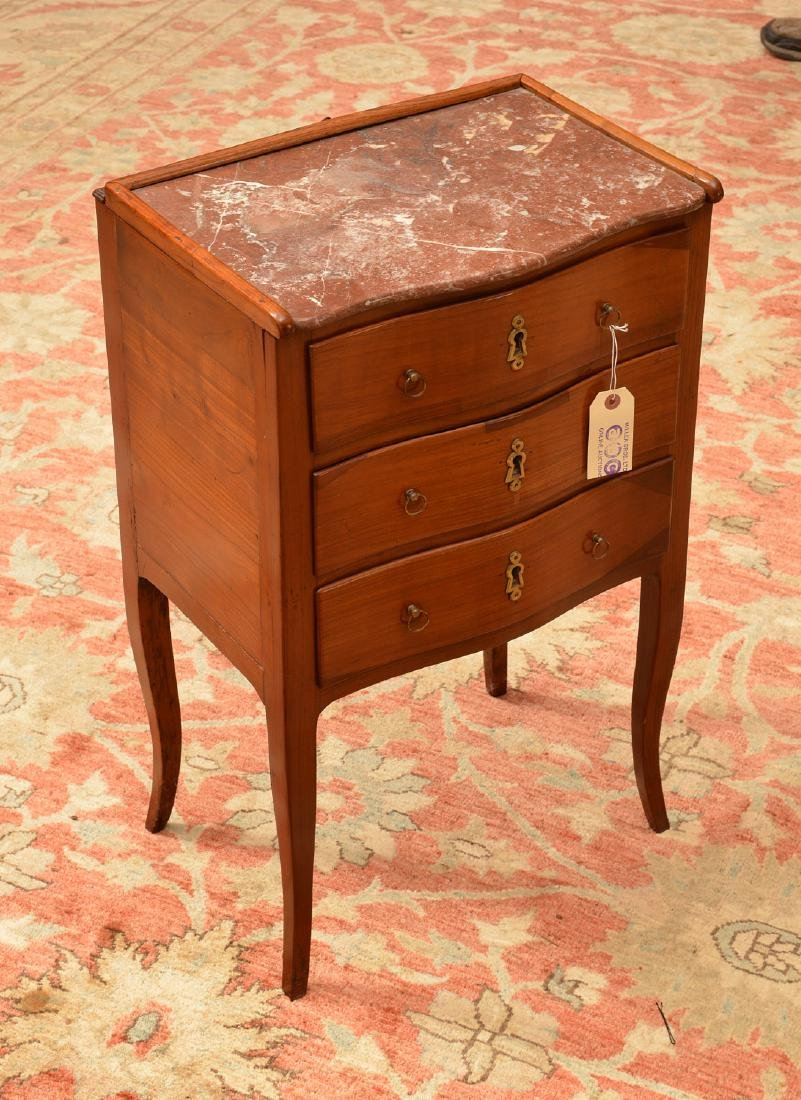 Transitional Louis XVI marble top stand