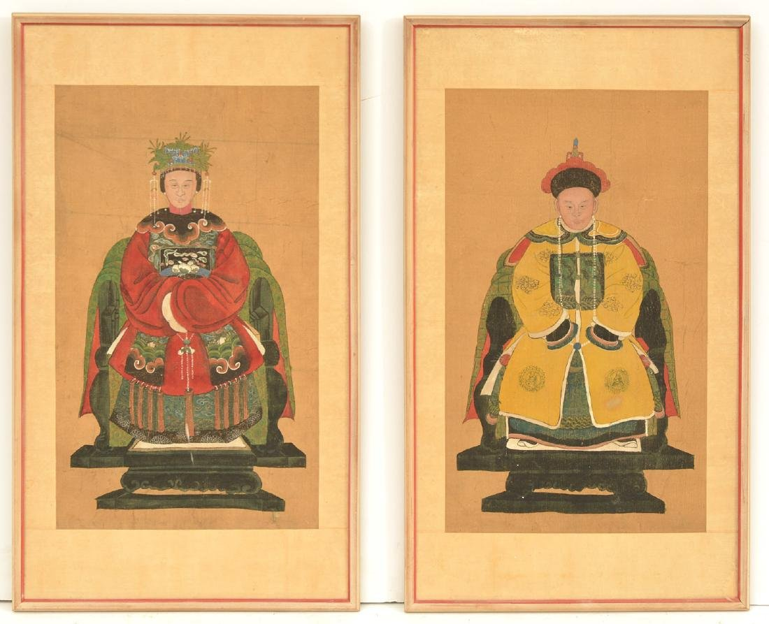 Pair Chinese ancestral portraits