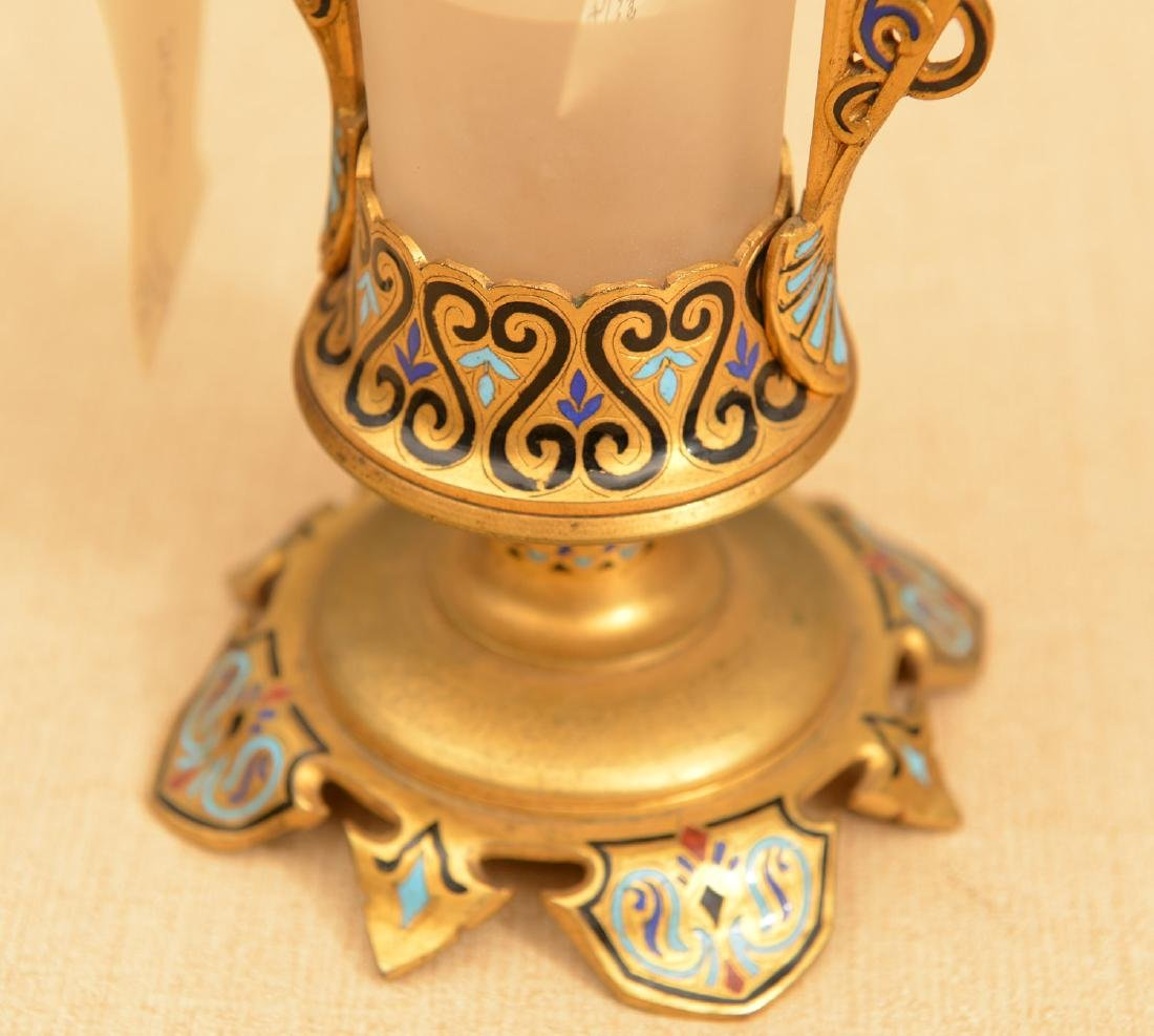 French champleve enameled bronze and glass vase - 2