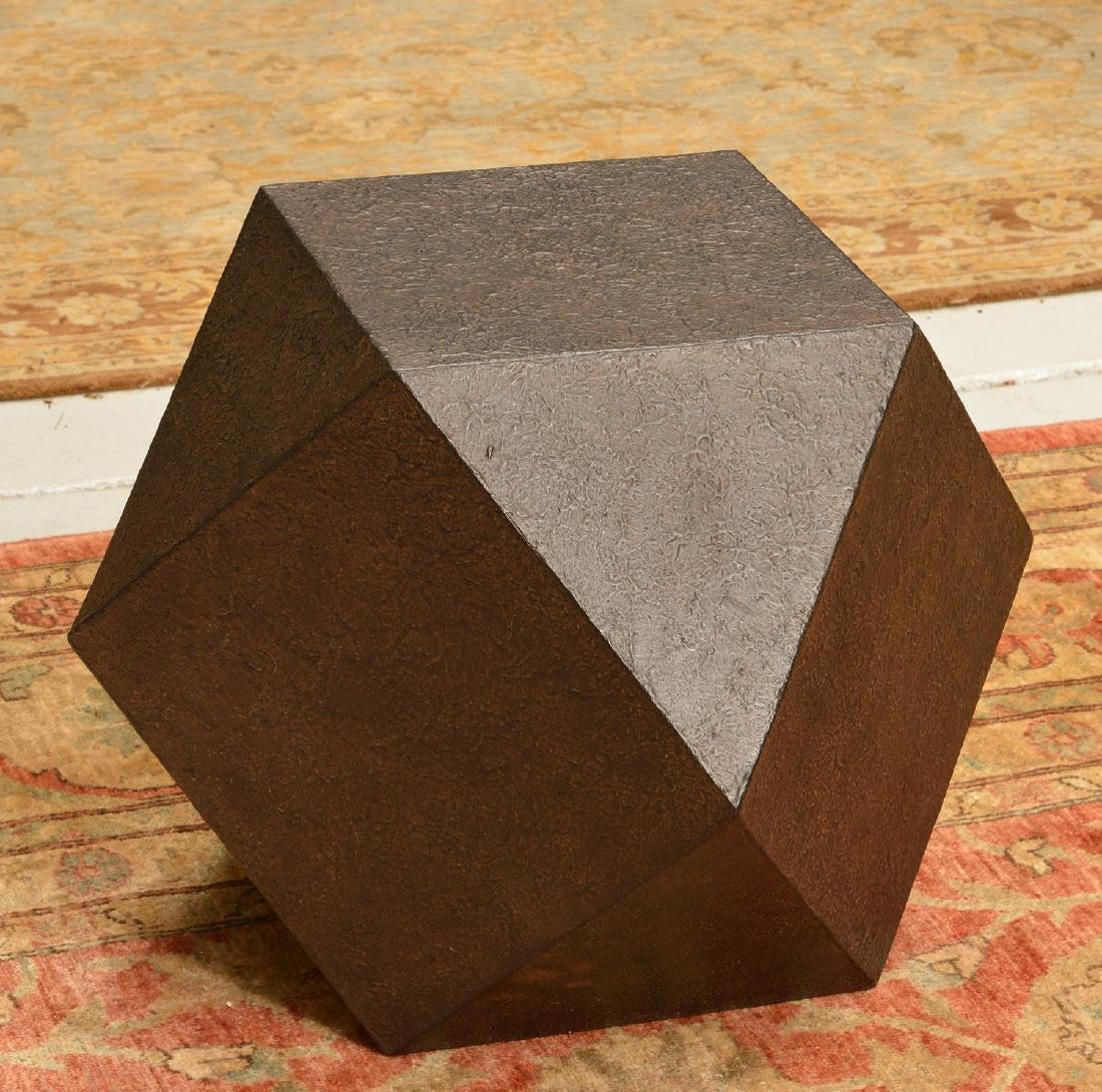 Designer textured steel polyhedron table