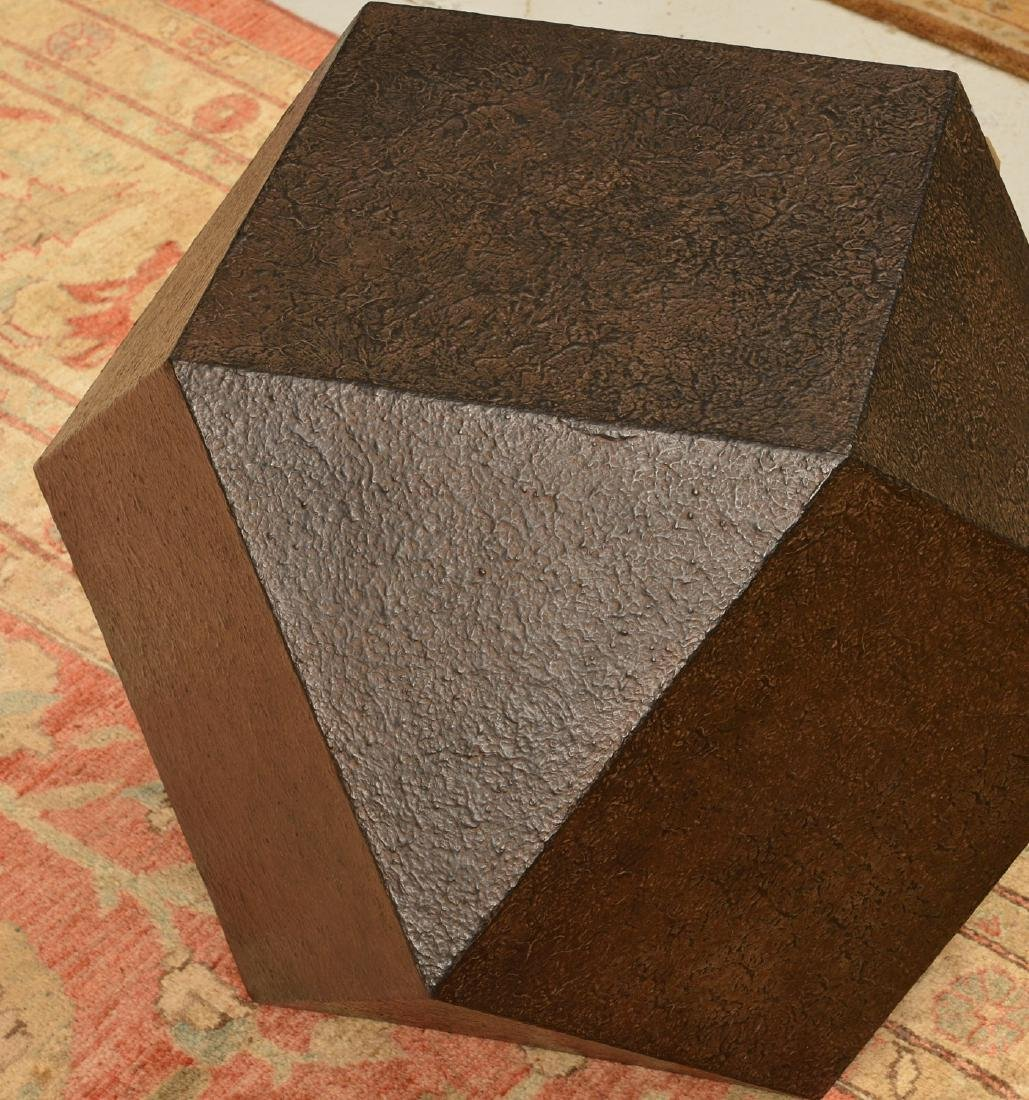 Designer textured steel polyhedron table - 2
